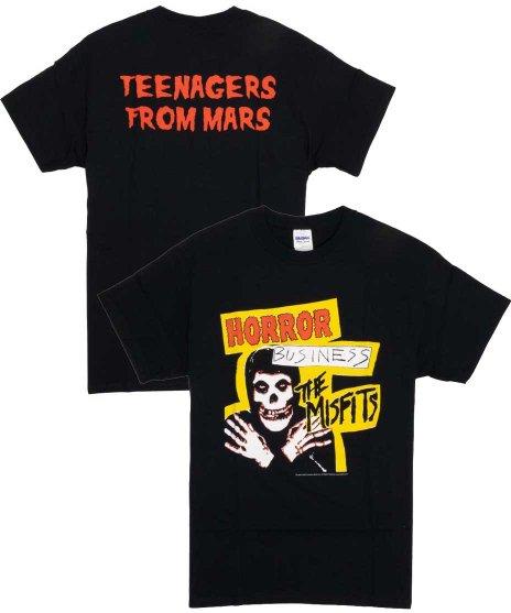 ミスフィッツ ( Misfits ) Horror Business バンドTシャツカラー:ブラック<br>サイズ:S〜L<br>シングルホラービジネスのデザインをプリント