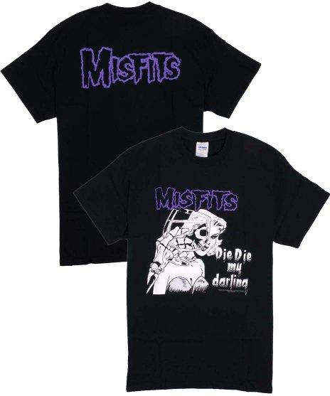 ミスフィッツ ( Misfits ) Die Die My Darling バンドTシャツカラー:ブラック<br>サイズ:S〜L<br>同名のシングルのジャケットデザインをプリント