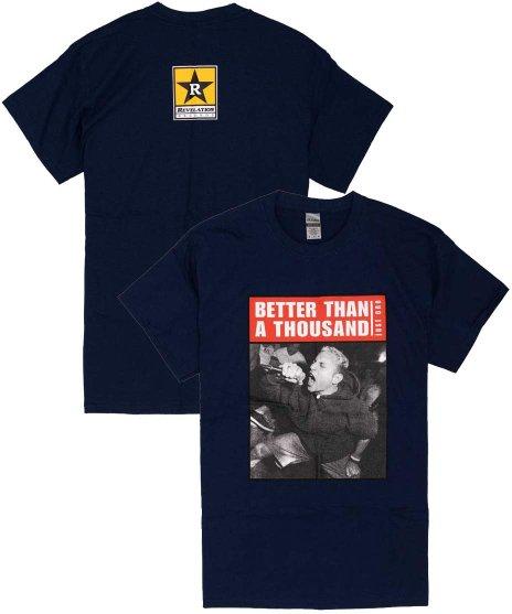 ベター ザン ア サウザンド ( Better Than A Thousand ) Just One バンドTシャツカラー:ネイビー<br>サイズ:S〜L<br>フロントにJUST ONEのジャケットのライブフォト