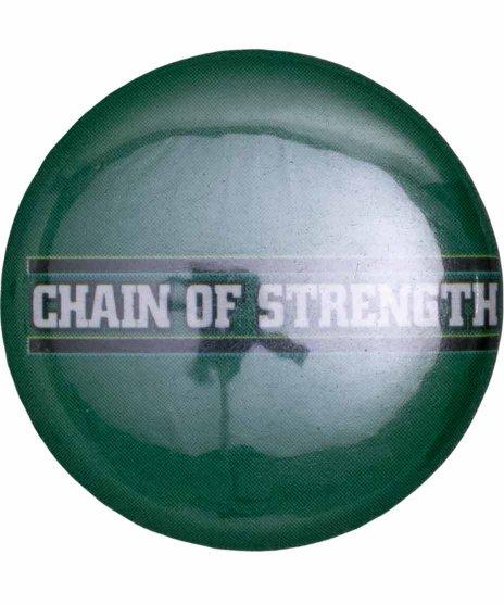 Chain Of Strength バンド缶バッチ Logo Button 【小】カラー:グリーン<br>サイズ:25mm<br>グリーンがベースのロゴバッジ