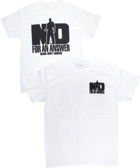 ノー フォー アン アンサー ( No For An Answer ) Orange County Hardcore バンドTシャツカラー:ホワイト/ブラック<br>サイズ:S〜L<br>オレンジカウンティーハードコアのデザイン