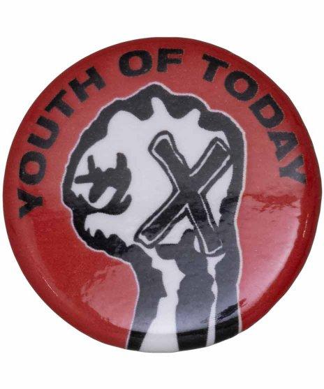 Youth Of Today ( ユースオブトゥデイ ) バンド缶バッジ Fistカラー:レッド<br>サイズ:33mm<br>レッドのベースにフィストのデザインです。