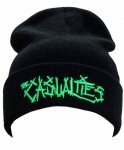The Casualties ( カジュアリティーズ ) 刺繍ロゴビーニー カラー:ブラック<br>サイズ:フリー<br>カジュアリティーズのロゴをグリーンの刺繍で仕上げたビーニ—です