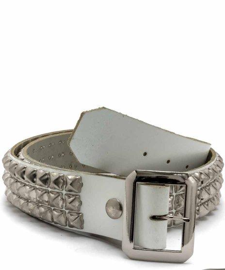 スタッズベルト メンズ 白本革 3連 シルバーピラミッドカラー:ホワイト<br>サイズ:S〜XL<br>定番のシルバースタッズを3列をホワイトのベルトに配置