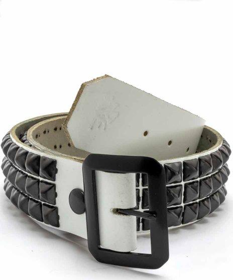 スタッズベルト メンズ 白本革 3連 ブラックピラミッドカラー:ホワイト<br>サイズ:S〜XL<br>ブラックのスタッズを3列。ホワイトのベルトに配置