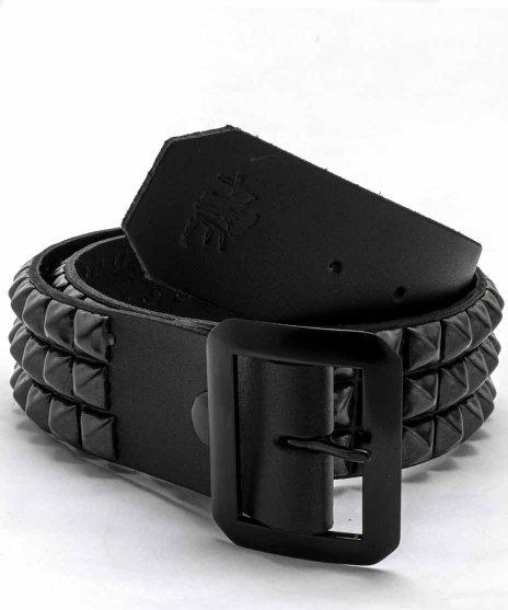 スタッズベルト メンズ 黒本革 3連 ブラックピラミッドカラー:ブラック<br>サイズ:S〜XL<br>全てブラックの3列にスタッズを配置したモデル