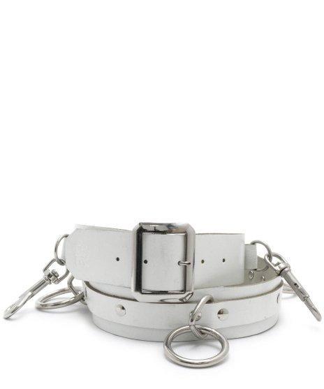 ボンデージ シドベルト 5リング 本革製 白 メンズ パンクロックカラー:ホワイト<br>サイズ:S〜XL<br>通称SIDベルトと呼ばれているボンデージベルトです