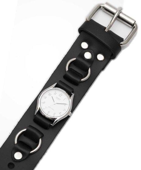 レザーブレスレットタイプ腕時計バンド WB2R リング付き時計タイプカラー:ブラック<br>サイズ:ワンサイズ<br>リストバンドに腕時計が装着できるモデル。