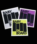 BABY IN CARステッカー。ブラックフラッグ風カラー:ホワイト、パープル、イエロー<br>サイズ:10x11cm<br>USパンクBlack Flagの4本バーをデザイン