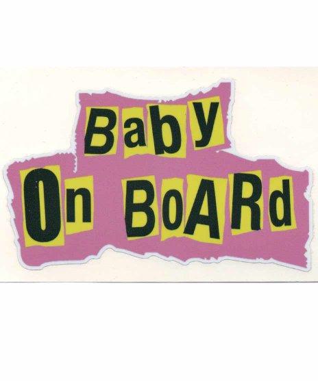 BABY IN CARステッカー。ピストルズのロゴ風カラー:ピンク、パープル、イエロー<br>定番の子供がのっていますのセックスピストルズ風なデザイン