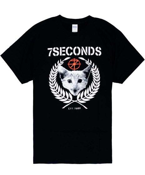 7セカンズ ( 7Seconds ) Rudie ( 猫のデザイン )  バンドTシャツカラー:ブラック<br>サイズ:S〜XL<br>7セカンズのネコのデザイン