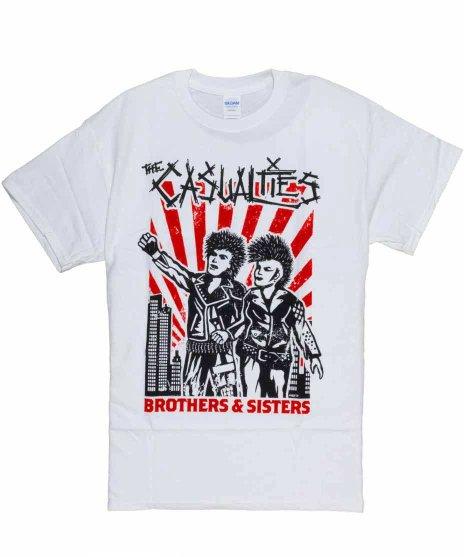 カジュアリティーズ ( The Casualties ) Brothers & Sisters バンドTシャツカラー:ホワイト<br>サイズ:M〜XL<br>カジュアリティーズの版画風な兄弟パンクスのデザイン