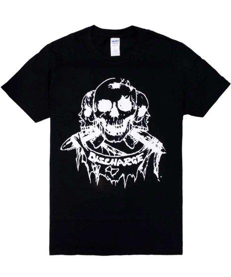 ディスチャージ ( Discharge ) バンドTシャツ Bornカラー:ブラック<br>サイズ:S〜XL<br>スカルにミサイルのデザイン