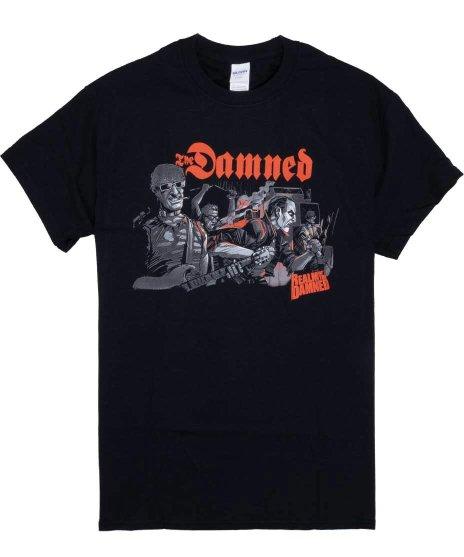 ダムド ( The Damned ) Realm Of The Damned バンドTシャツカラー:ブラック<br>サイズ:M〜XL<br>動画コミックにダムドが出てくるシーンのデザイン