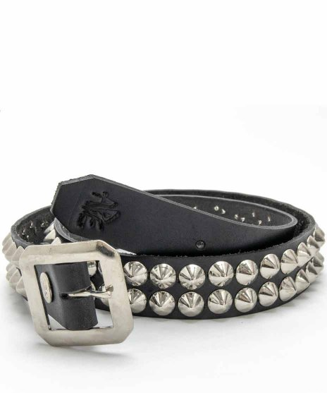 スタッズベルト メンズ 黒本革 2連 シルバーコーンカラー:ブラック<br>サイズ:S〜XL<br>2連のシルバーコーンスタッズをブラックベルトに配置