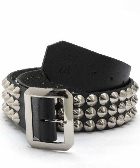 スタッズベルト メンズ 黒本革 3連 シルバーコーンカラー:ブラック<br>サイズ:S〜XL<br>シルバーのコーンスタッズを3連でブラックレザーベルトに配置
