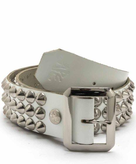 スタッズベルト メンズ 白本革 3連 シルバーコーンカラー:ホワイト<br>サイズ:S〜XL<br>3連のシルバーコーンにホワイトのレザーのベルト