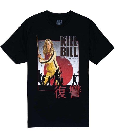 キルビル ( Kill Bill ) 映画 ポスターデザイン メンズTシャツカラー:ブラック<br>サイズ:S〜L<br>キル・ビルのポスターデザイン