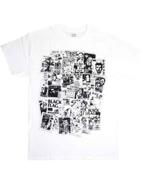 Black Flag(ブラック・フラッグ) フライヤー バンドTシャツカラー:ホワイト<br>サイズ:S〜XL<br>ブラックフラッグの数々のフライヤのデザインを集結