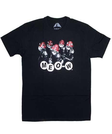 ディーヴォ ( Devo ) Meo-W ( 猫のデザイン )  バンドTシャツカラー:ブラック<br>サイズ:S〜L<br>DEVOのエナジードームを猫がかぶっているデザイン