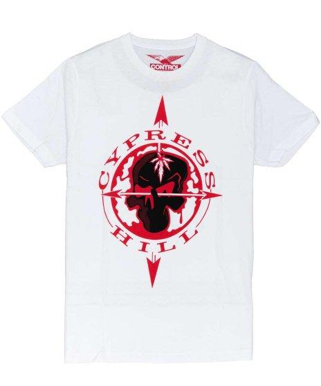 サイプレス ヒル ( Cypress Hill ) Skull & Compass バンドTシャツカラー:ホワイト<br>サイズ:M〜XL<br>サイプレス ヒルのコンパスのデザイン