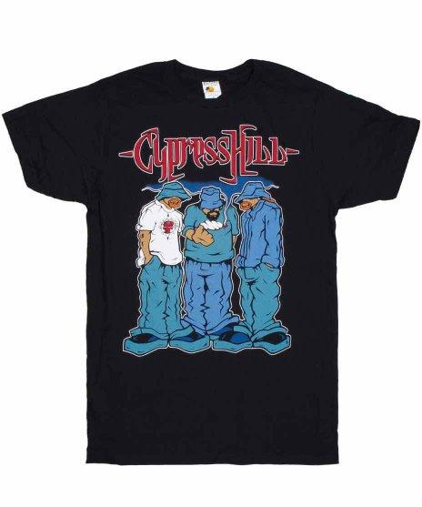 サイプレス ヒル ( Cypress Hill ) Blunted バンドTシャツカラー:ブラック<br>サイズ:M〜XL<br>メンバーのイラストのデザイン