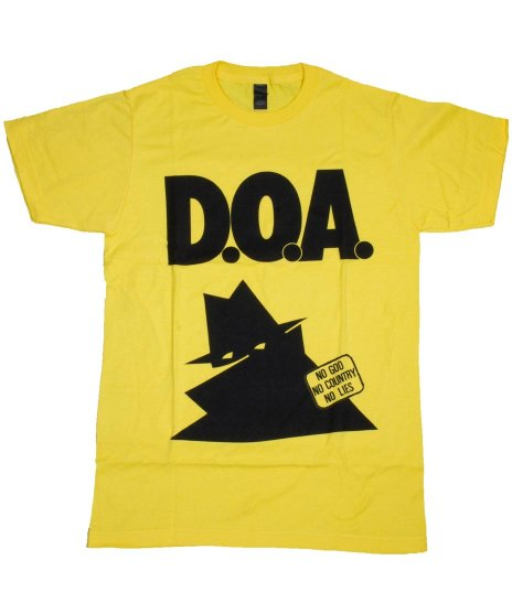 DOA No God No Country バンドTシャツカラー:イエロー<br>サイズ:S〜L<br>7インチPositivelyのジャケットデザイン