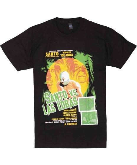 エル サント プロレス 映画【Santo Vs Las Lobas】ポスターデザイン メンズTシャツカラー:ブラック<br>サイズ:S〜XL<br>メキシコのルチャリブレの英雄エルサントの映画ポスター