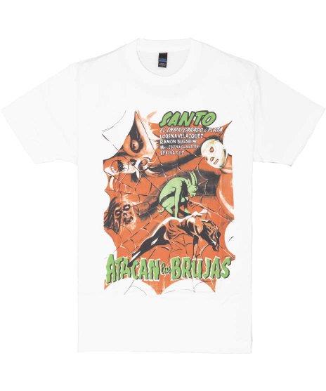 エル サント プロレス 映画【Santo Vs Brujas】ポスターデザイン メンズTシャツカラー:ホワイト<br>サイズ:S〜XL<br>メキシコの英雄エルサントのポスターデザイン