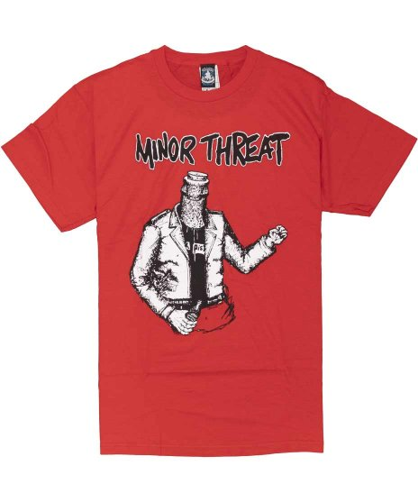 マイナー スレット ( Minor Threat ) Bottled Violence バンドTシャツカラー:レッド<br>サイズ:M〜XL<br>マイナー・スレット ボトルマン アートワーク