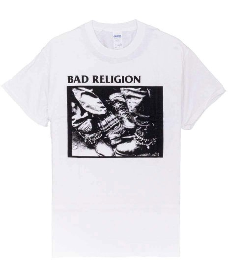 バッド レリジョン ( Bad Religion ) '80-'85 バンドTシャツカラー:ホワイト<br>サイズ:S〜L<br>アルバム80-85のモノクロジャケットをプリント