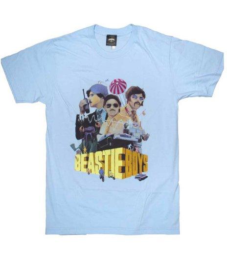 ビースティ ボーイズ ( Beastie Boys ) サボタージュ バンドTシャツカラー:スカイブルー<br>サイズ:S〜L<br>SabotageのPVデザイン