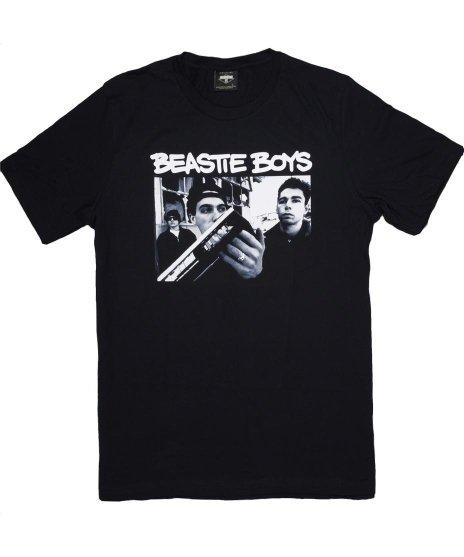 ビースティ ボーイズ ( Beastie Boys ) BoomBox バンドTシャツカラー:ブラック<br>サイズ:S〜L<br>モノクロのメンバーロゴのをプリント