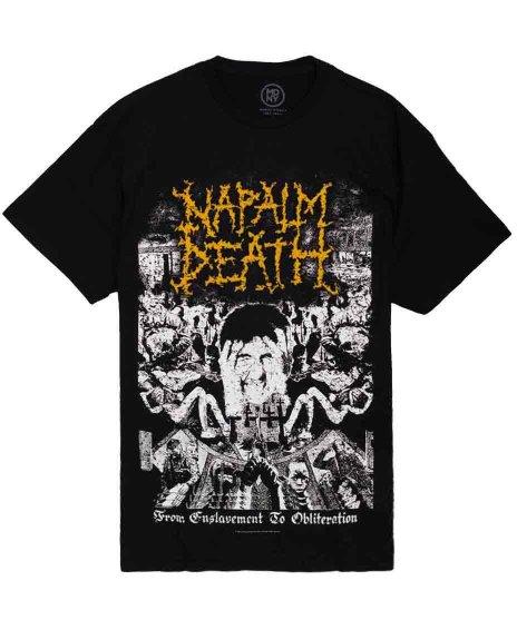 ナパーム デス ( Napalm Death ) From Enslavement To Obliteration バンドTシャツカラー:ブラック<br>サイズ:S〜L<br>ナパームデスの2ndアルバムジャケットをプリント