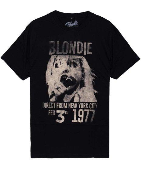 ブロンディー ( Blondie ) 1977 バンドTシャツカラー:ブラック<br>サイズ:S〜L<br>ブロンディーの1977年のLAでのライブフライヤーのデザイン