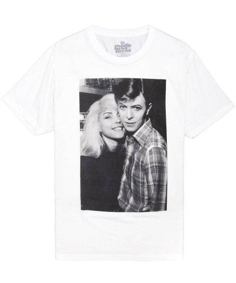 ブロンディー ( Blondie ) デヴィッド ボウイ & デビー ハリー バンドTシャツカラー:ホワイト<br>サイズ:S〜L<br>モノクロの若い頃のデビー ハリーとデヴィッド ボウイの写真