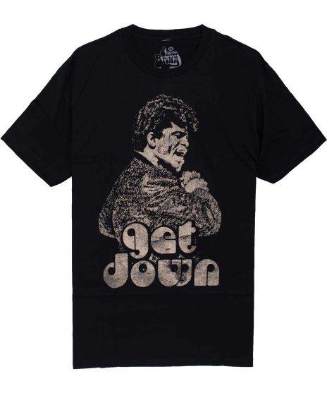 ジェームス ブラウン ( James Brown ) Get Down バンドTシャツカラー:ブラック<br>サイズS〜L<br>大きなジェームス・ブラウンのモノクロイラスト