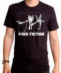 ネコ パルプフィクション風 ( Purr Fiction )  メンズTシャツカラー:ブラック<br>サイズ:S〜XL<br>パルプフィクションのワンシーンをネコが演じているデザインです