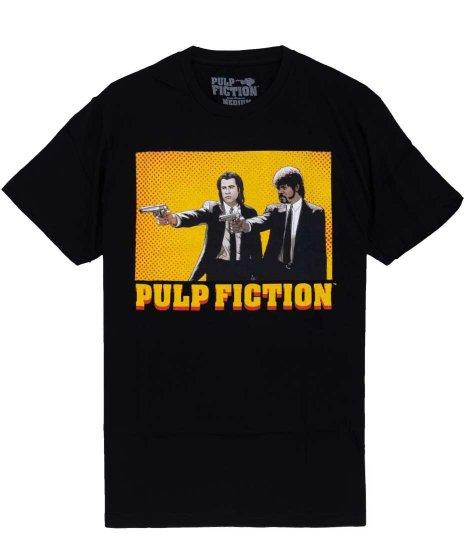 パルプ・フィクション ( Pulp Fiction ) カートゥーン 映画  メンズTシャツカラー:ブラック<br>サイズ:M,L,XL<br>コミック風に描写されたビンセントとジュールスのデザインです