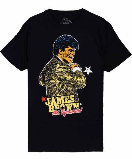 ジェームス ブラウン オフィシャルバンドTシャツ ミスターダイナマイト カラー:ブラック<br>サイズ:M,L<br>JBの写真にイラスト風な着色をしたデザインです。