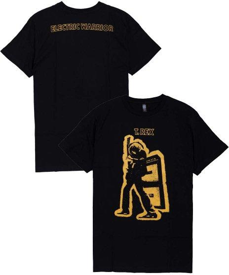 T-Rex Electric Warrior オフィシャルバンドTシャツカラー:ブラック<br>サイズ:S〜L<br>1971年のアルバムElectric Warriorのジャケットデザイン。