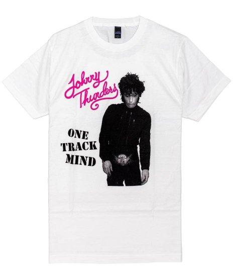 ジョニーサンダース ( Johnny Thunders ) One Track Mind バンドTシャツカラー:ホワイト<br>サイズ:S〜L<br>ジョニー・サンダースの写真のデザインです。