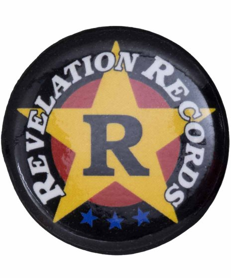 Revelation Records バンド缶バッジ Crest カラー:ブラック/イエロー<br>サイズ:32�<br>ブラックにイエローのRevelationレコードのロゴバッジ
