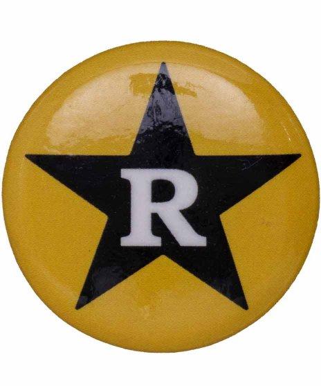 Revelation Records バンド缶バッチ Yellow Starラージカラー:イエロー・ブラック<br>サイズ:32�<br>レヴェレーションレコードのRとスターの定番ロゴ