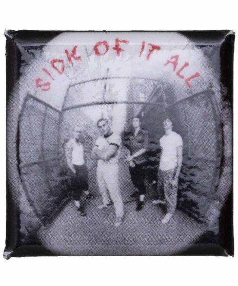 シック オブ イット オール ( Sick Of It All )  バンド缶バッジ スクエアカラー:N/A<br>サイズ:25mm正方形<br>1987年にRevelationレコードから発売されたジャケットデザイン