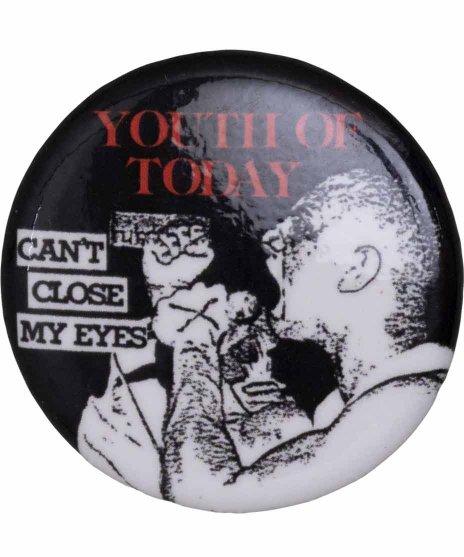 Youth Of Today ( ユース オブ トゥデイ ) バンド缶バッジ Can'T Close My Eyesカラー:レッド/ブラック<br>サイズ:32mm<br>NO MOREのデザインのバッジです