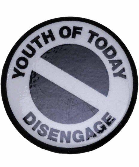 Youth Of Today ( ユースオブトゥデイ ) バンド缶バッジ Disengageカラー:レッド/ブラック<br>サイズ:32mm<br>NO MOREのデザインのバッジです
