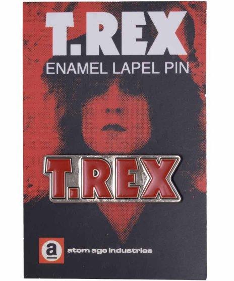 T-Rex バンドピンバッジ バンドロゴカラー:BK/WH/RD<BR>サイズ:横37mm<br>定番ロゴ