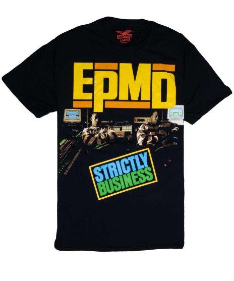 Epmd オフィシャルバンドTシャツ Strictly Businessカラー:ブラック<br>サイズ:M〜XL<br>1Stアルバムのジャケットデザイン