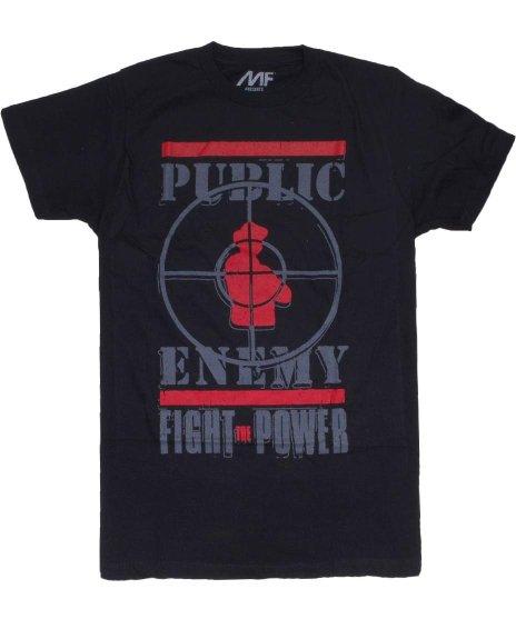 Public Enemy  Fight The Power オフィシャルバンドTシャツカラー:ブラック<br>サイズ:M〜XL<br>Fight the powerとターゲットロゴ
